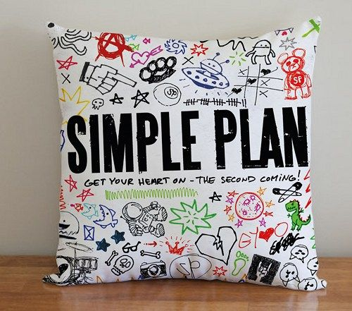 BDP 122 Simple Plan Get Your Heart On - Pillow Case 16x16, 2 side | PodoMoro - Home & Garden on ArtFire