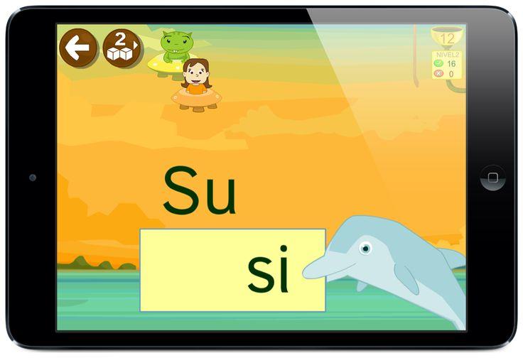 LEO CON GRIN: juegos de sílabas palabras u frases en una app para aprender a leer desde smartphones y tabletas #app #delfin #leer #preescolar #juegos