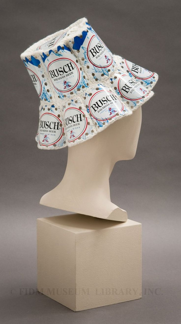 A ladies hat even a man could appreciate. This novelty crochet hat is made with aluminum beer cans, ca. 1968-1970.