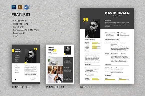 Professional Cv And Resume Template Resume Design Template Resume Templates Resume