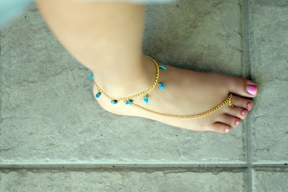 Anklet  Toe Ring with Turquoise Beads: 35 00, Toe Rings, Nativelivingjewelry, Anklets, Turquoise Jewelry, Turquoise Beads