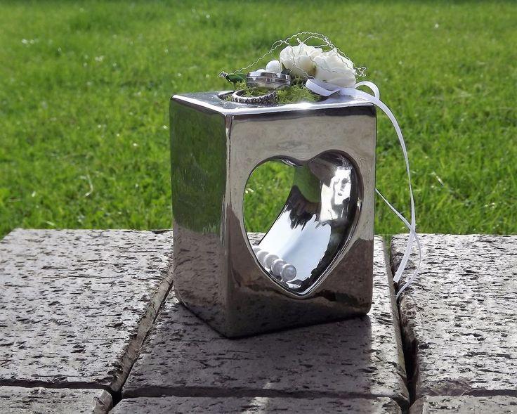 Ringkissen Ringhalter Keramik Herz eckig silberfarben für Eheringe Hochzeit