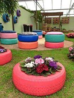 decoración de jardin con llantas