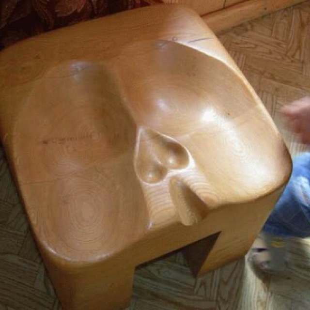 "Scotsman's bar stool! For men in kilts. I love how the testicle area is shaped like a heart , men ""love"" their ""balls"" lol"