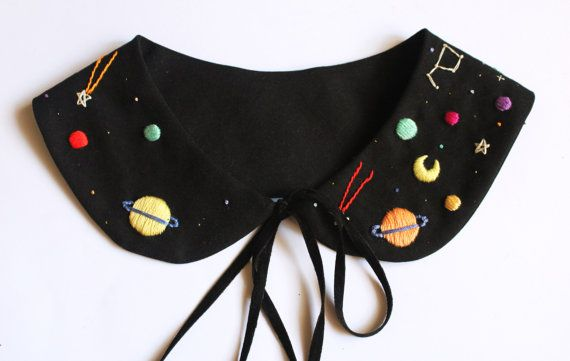 Details: -Stars, planets and moons embroidered by hand onto black cotton fabric with %100 cotton Dmc threads. Care: Spot clean only , do not iron. There is two option for you to choose to attach the collar sides together: -You can choose to fasten them wtih black ribbons or you choose the hook button that is invisible and places behind collar sides This item is made to order so please give me 6 weeks for me to make the item for you. ----You can combine this collar with my Space neckl...