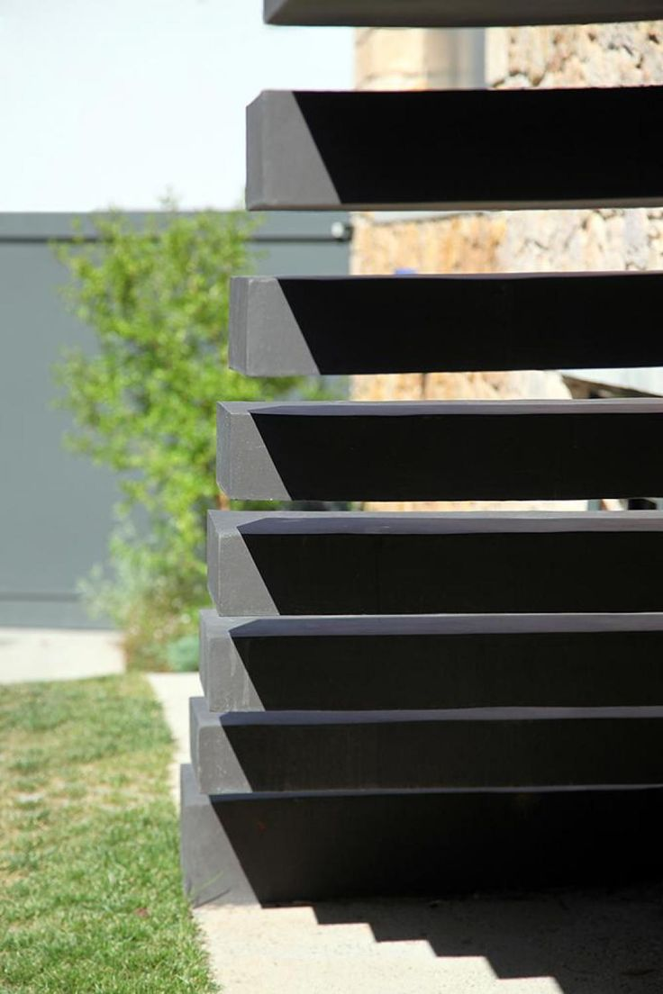 Sleek Athens House Blends Stone With Concrete Textures 6 Walkway Steps  Urban Modern House Design For
