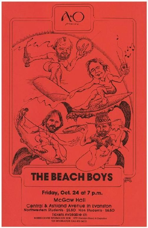 Original concert poster for The Beach Boys at McGaw Hall in Chicago, IL. 1975 11 x 17 inches.