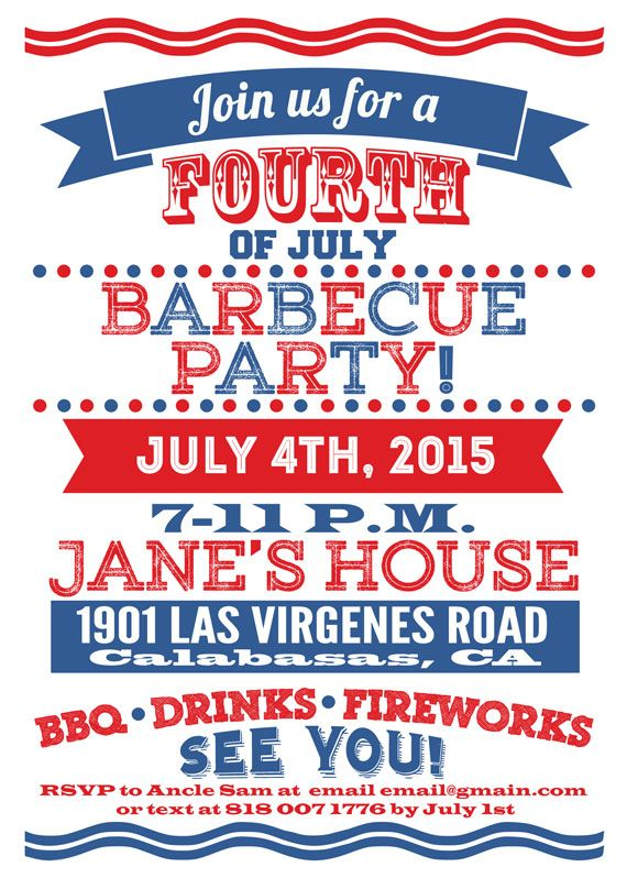 Custom 4th Of July Barbeque Party Invitation All Texts Are