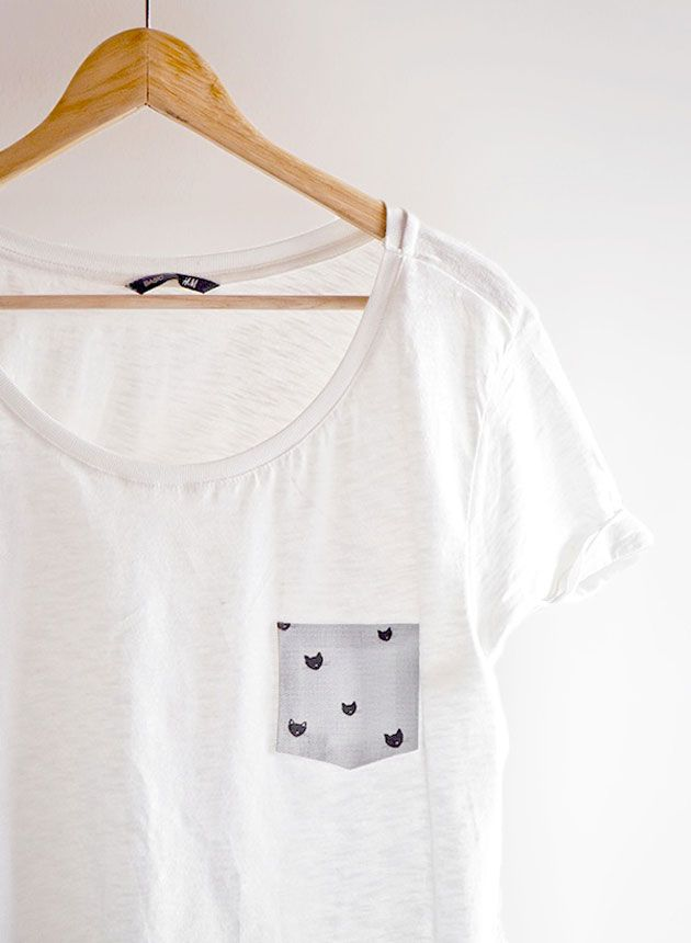 personnalisation tshirt, tuto --> http://www.ohthelovelythings.com/2013/02/10-minutes-diy-no-sew-pocket-t-shirt.html
