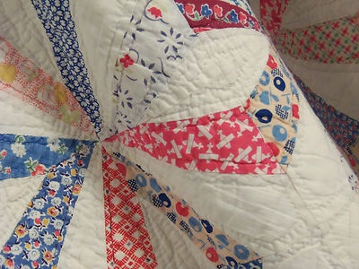 Vintage Handmade Quilt 1930s Endless Chain Maltese Cross W