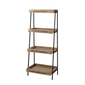 GREENGROCER metal and wood rack, black W 52cm