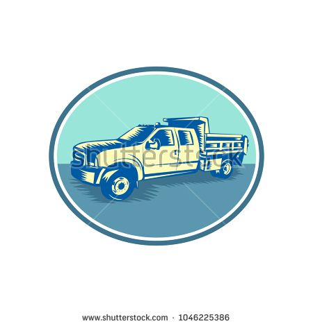 Retro woodcut style illustration of a Tipper Pick-up or pickup truck, equipped with open-box bed hinged at the rear and equipped with hydraulic rams to lift the front viewed from side set inside oval.  #pickuptruck #woodcut #illustration