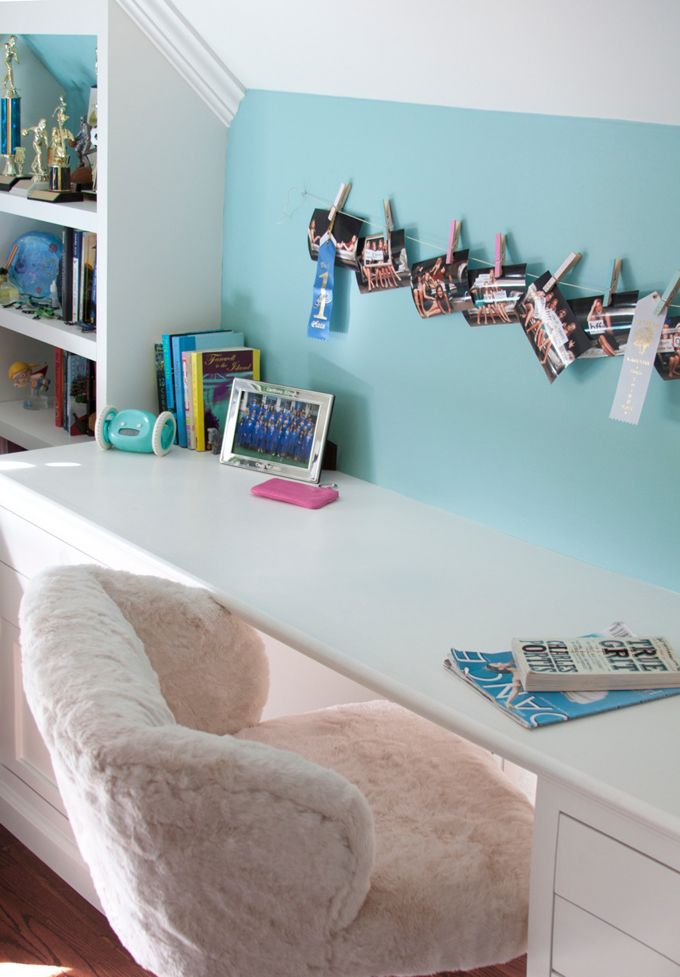 fabulous teen girlu0027s bedroom features builtin desk suspended from file cabinets paired with pb teen ivory sherpa wingback desk chair flanked by builtin - Desk Chairs For Teens