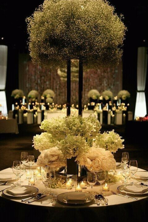 Dramatic baby's breath reception wedding flowers, wedding decor, wedding flower centerpiece, wedding flower arrangement, add pic source on comment and we will update it. www.myfloweraffair.com can create this beautiful wedding flower look. by carina8