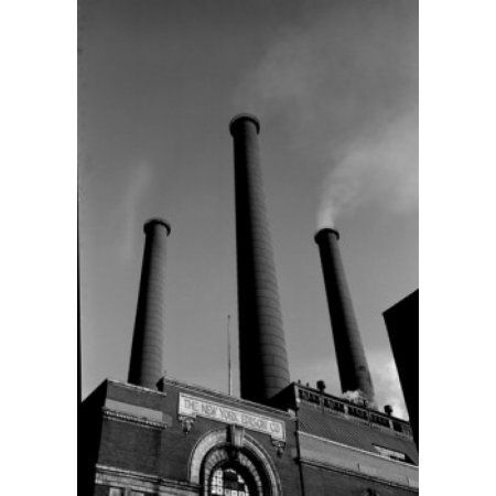 USA New York City Smokestacks of Consolidated Edison Power Plant Canvas Art - (18 x 24)