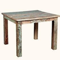 "Rustic Reclaimed Wood 36"" Square Dining Table w Decorative Legs"