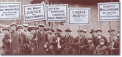 Protesters marching against the conviction of anarchists Sacco and Vanzetti.