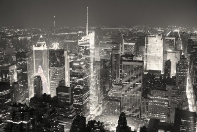 Panorama de vue aérienne horizon Manhattan de New York City Times Square noir et blanc avec les gratte-ciels et de la rue.