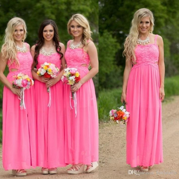 Fuchsia Pink Long Country Bridesmaid Dresses Cheap Plus Size Bridesmaids Gowns Cutaway Side Chiffon Lace Long Backless Prom Party Dresses Blue Bridesmaids Dresses Brides Maid Dress From Faithfully, $91.46| Dhgate.Com