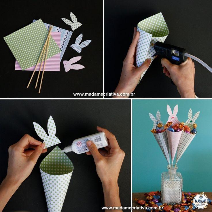 montando os cones- Passo a passo com fotos - How to make cones to fill it up with chocolate candy- DIY tutorial  - Madame Criativa - www.mad...
