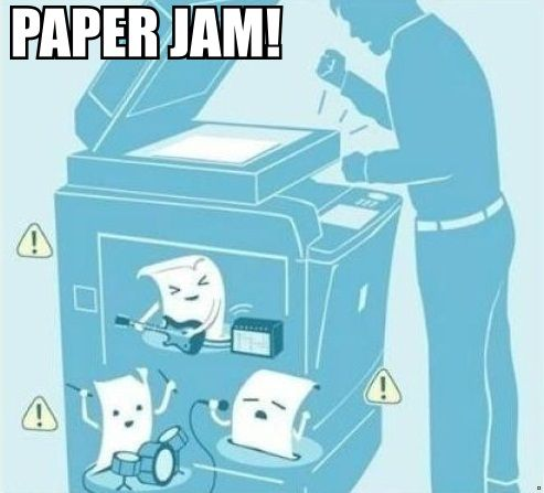 Paper jam. So THAT'S what goes on inside!!