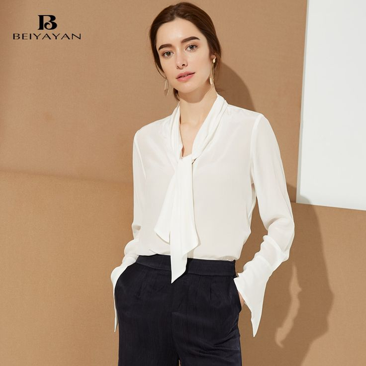 BEIYAYAN White Women Shirts 2017 New Hot Sale 100% Silk Long Sleeves Blouses for Women High Quality Silk with Button