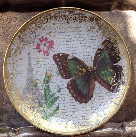 Hand Crafted Decoupage Plate French by kristihughesdesign on Etsy