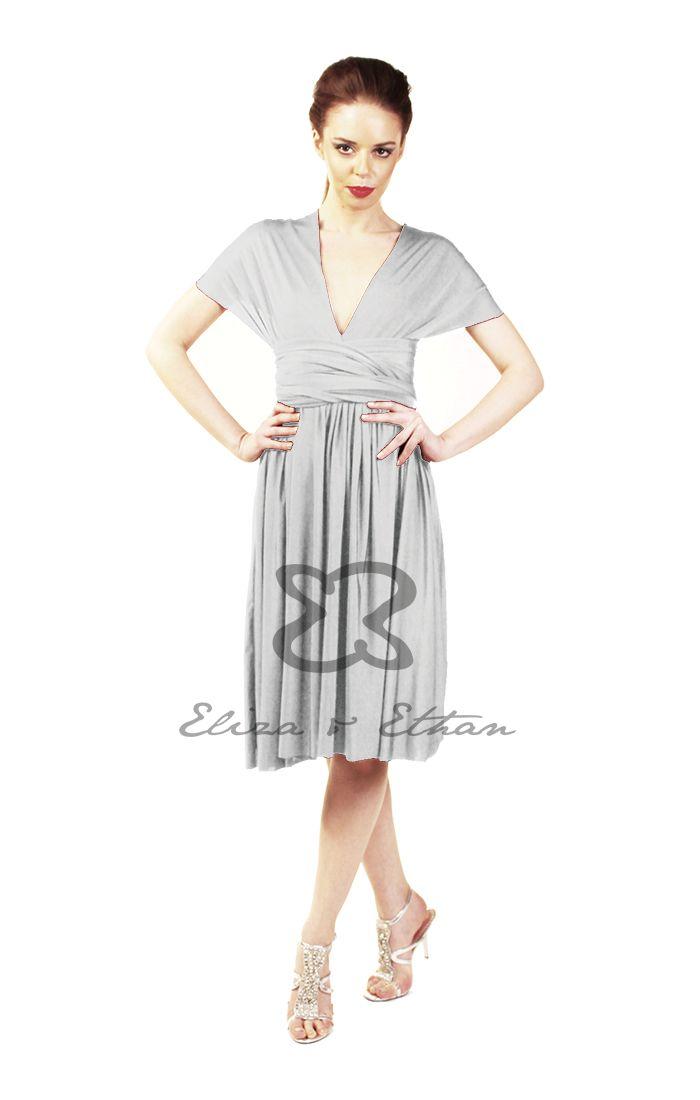 Eliza and Ethan - Multiway - Infinity - Bridesmaids Dresses - OneSize - Short MultiWrap Dress Color: Platinum