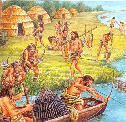 Een voorstelling van een jagers en verzamelaars dorp.