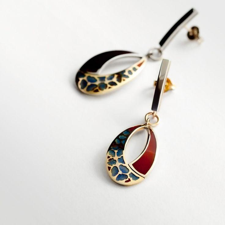 Yellow gold, white gold & enamel earrings. Handmade by Geoff Mitchell. Australia.