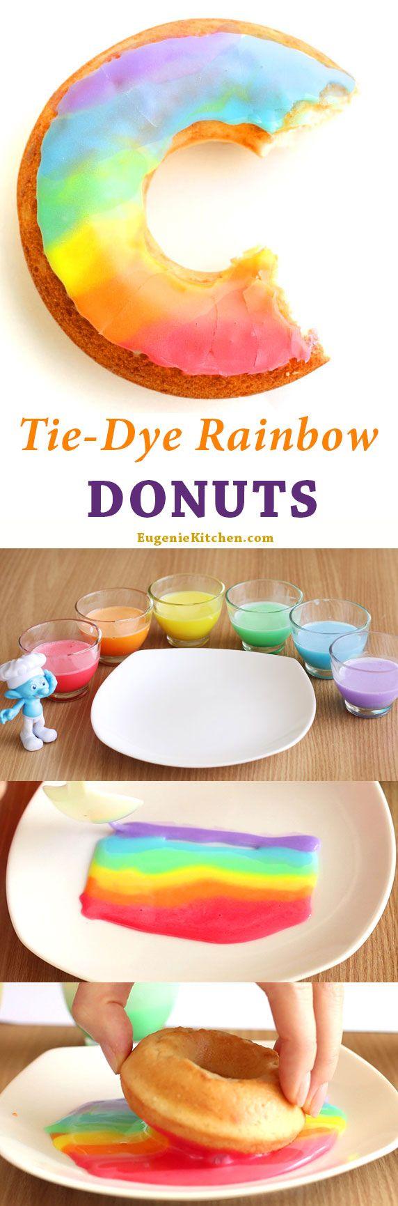 Tie-Dye Rainbow Donuts will make perfect happy snack. Yum!