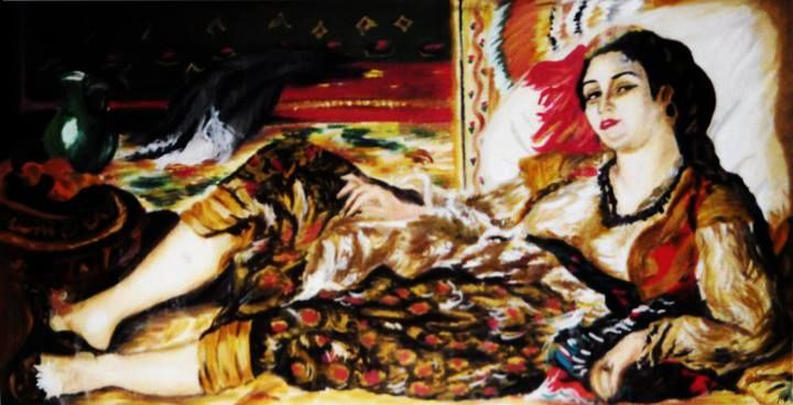 Donna d'Algeri  (copia di Renoir: pigmenti e tempera su carta, 35X50 cm)