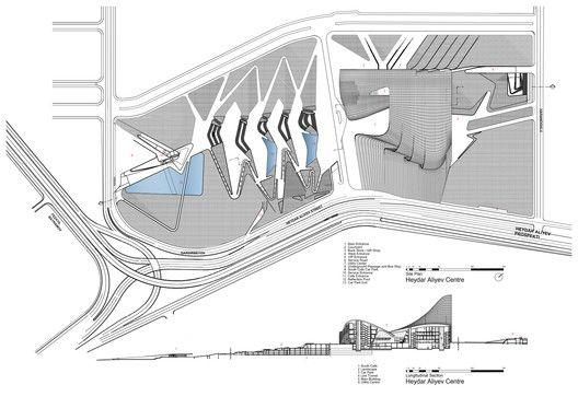 Heydar Aliyev Center,Site Plan + Section