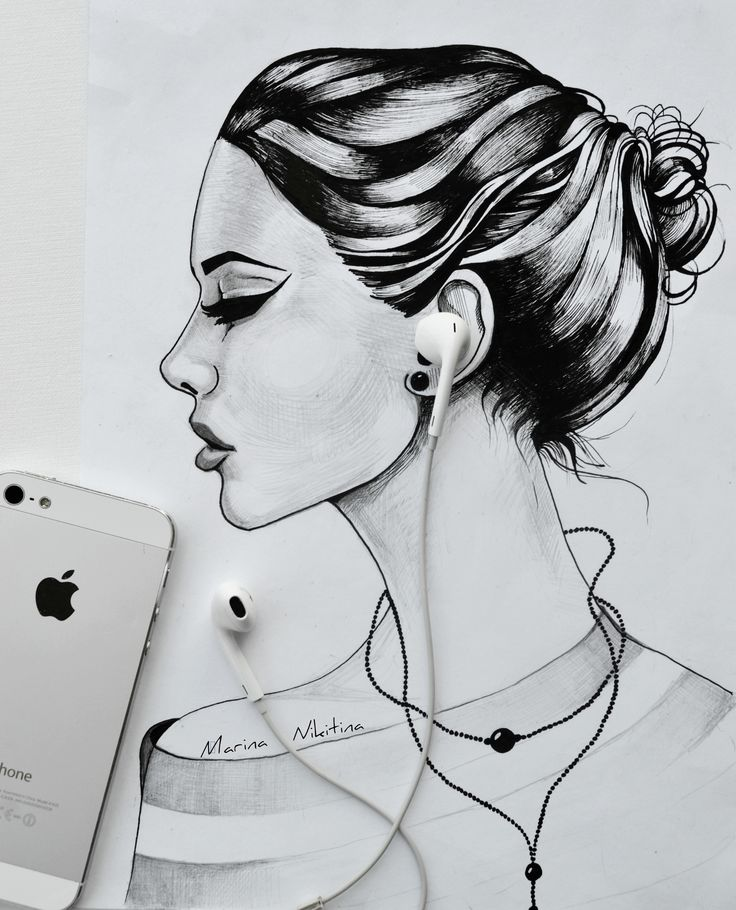 Рисунок ручкой, карандашом. Марина Никитина. Графика, набросок