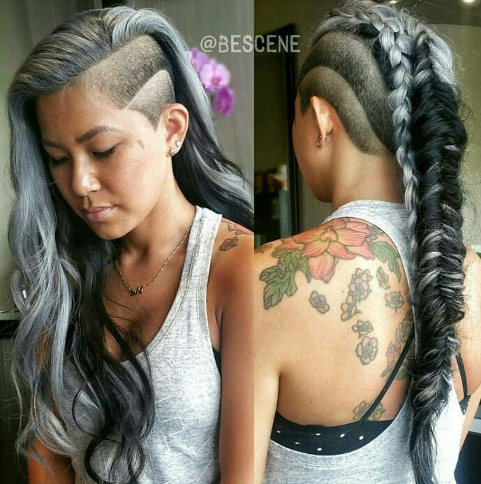 Gray side shave fishtail braid mohawk