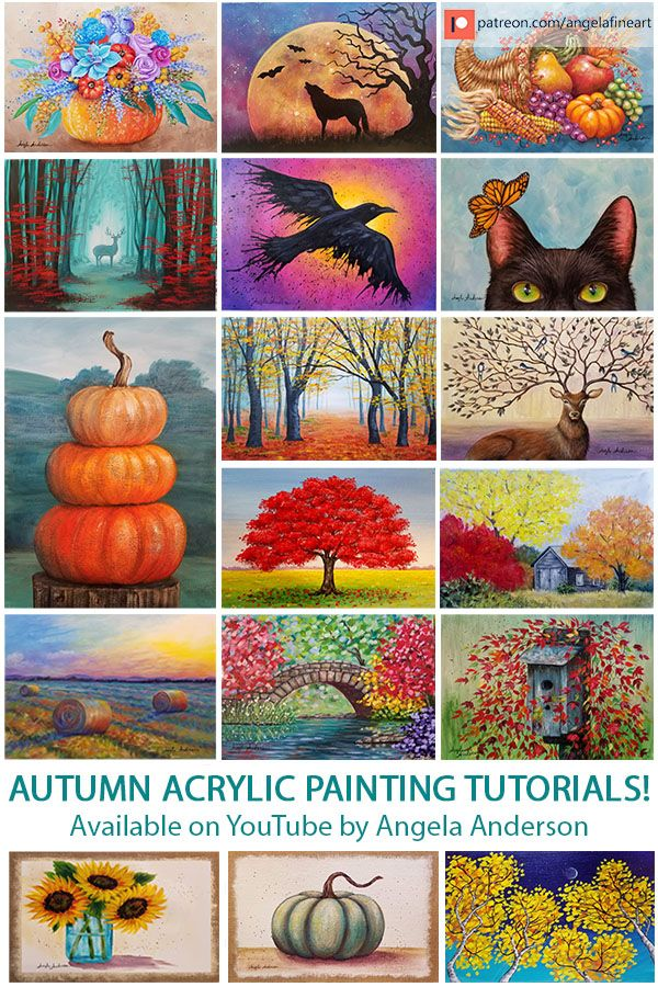 Autumn Acrylic Painting Tutorials By Angela Anderson On Youtube Free Painting Lessons Hallow Fall Canvas Painting Canvas Painting Tutorials Painting Tutorial