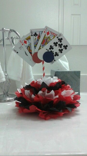 Excuse the fact that it's in the bathroom! (Better lighting) this is my own creation for bubbas casino party centerpieces :)