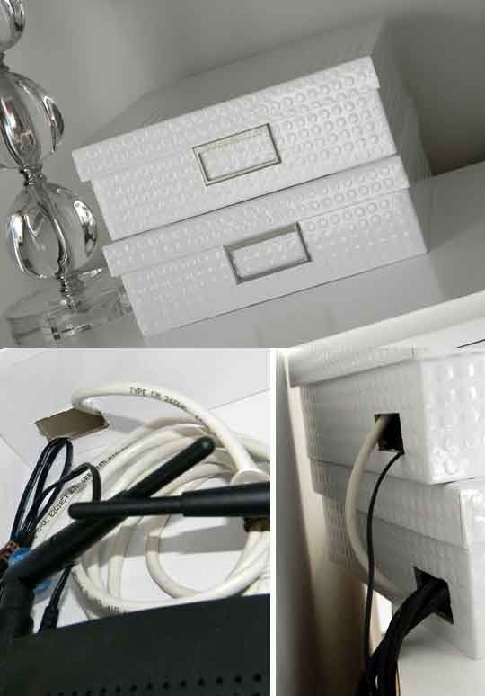 How to hide the ugly wireless modem and chords, brilliant-Stealthy & Stylish Tech Disguises Roundup | Apartment Therapy