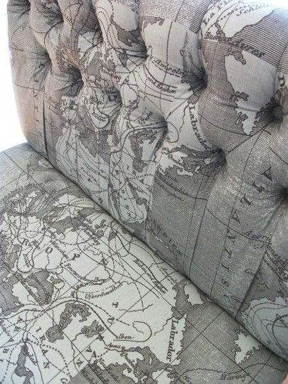 map fabric for upholstery re-do in a vintage trailer.  Tufted seats - so beautiful.  Glamper Glamping Camper
