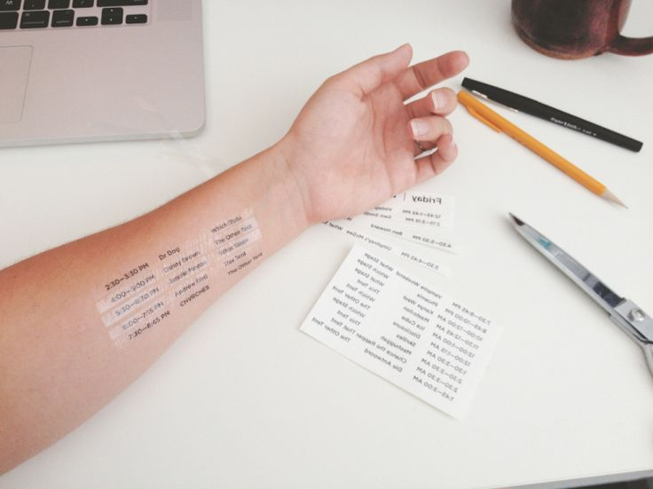 Paste Magazine editor Sarah Lawrence had the bright idea to turn a music festival schedule into a temporary tattoo so she wouldn't have to carry a flimsy paper version outside in the elements — or ...