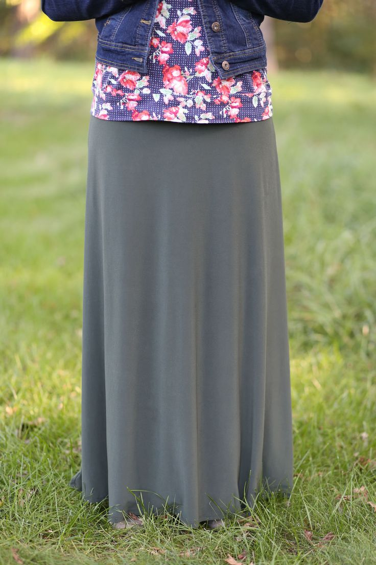 Beautiful Flowing Long Skirt | Modest Olive Maxi Skirt