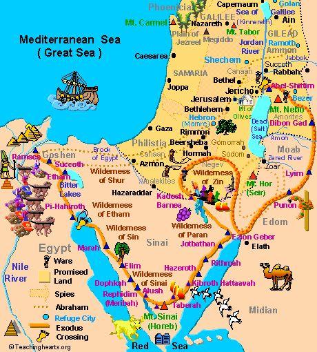 mapas biblicos del antiguo y nuevo testamento | El Éxodo israelita según el Antiguo Testamento