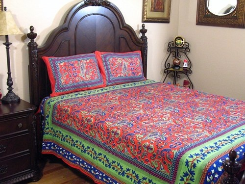 Luxury Cotton Indian Bedding Beautiful Paisley 3P Elegant Designer Bed Sheet Set | eBay