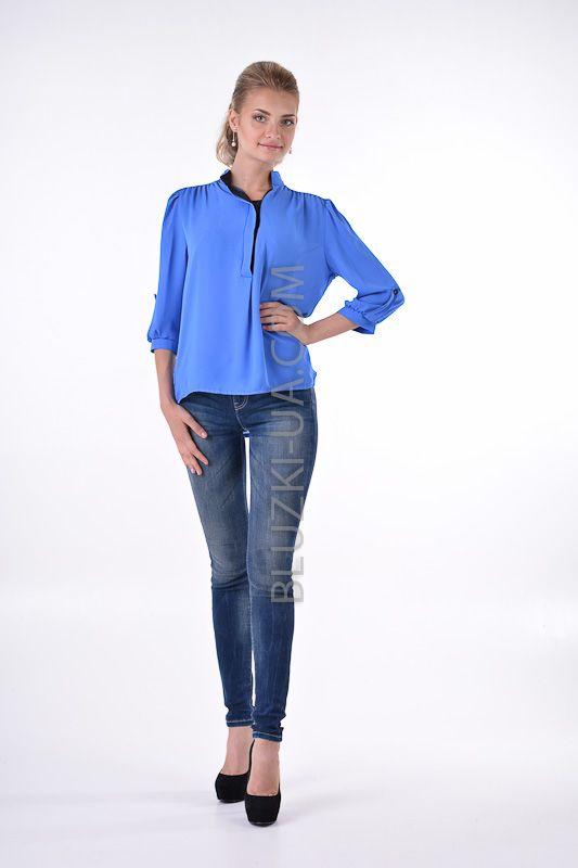 Голубая блузка в стиле бохо с воротником-стойкой и асимметричной застежкой, купить онлайн. Интернет-магазин БЛУЗКИ UA, Украина - женская одежда и женские блузы.