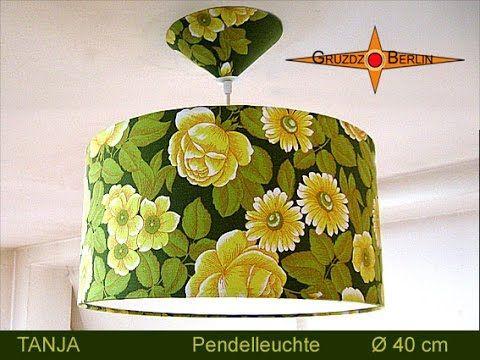 """Lampenset """"Tanja"""" //  Leuchte TANJA Ø 40 cm, Pendellampe mit Diffusor und Baldachin, grün geblümt. Hängelampe TANJA mit ihrem originalem Retrostoff aus den 70er Jahren spendet ein erfrischendes und gemütliches Licht, zaubert aber auch den Frühling herbei."""