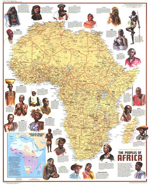 "Africa | People.  Ethnolinguistic Map of the Peoples of Africa. Published in Dec 1971 with the article ""The Zulus: Black Nation in a Land of Apartheid,"" this map is a supplement to the ""Heritage of Africa"" map printed in the same issue. Featuring a physical map with the names of groups and their languages, this map also contains beautiful illustrations and interesting facts about the diverse peoples that inhabit the continent.  CLICK image to access interactive version at National…"