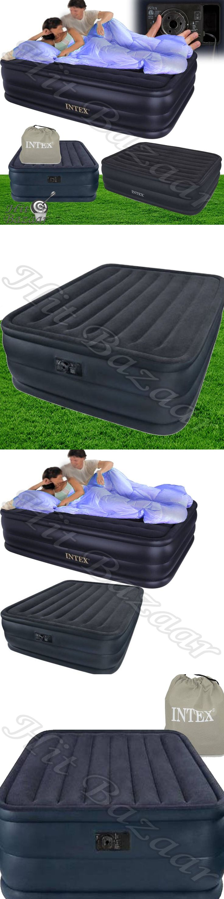 Inflatable Mattresses Airbeds 131598: Queen Raised Air Mattress Bed Inflatable  Airbed Blow Up Electric Pump