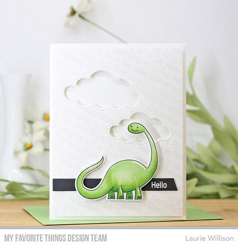 Stamps: Delightful Dinosaurs Die-namics: Delightful Dinosaurs, Stitched Clouds, Slanted Sentiment Strips  Laurie Willison #mftstamps