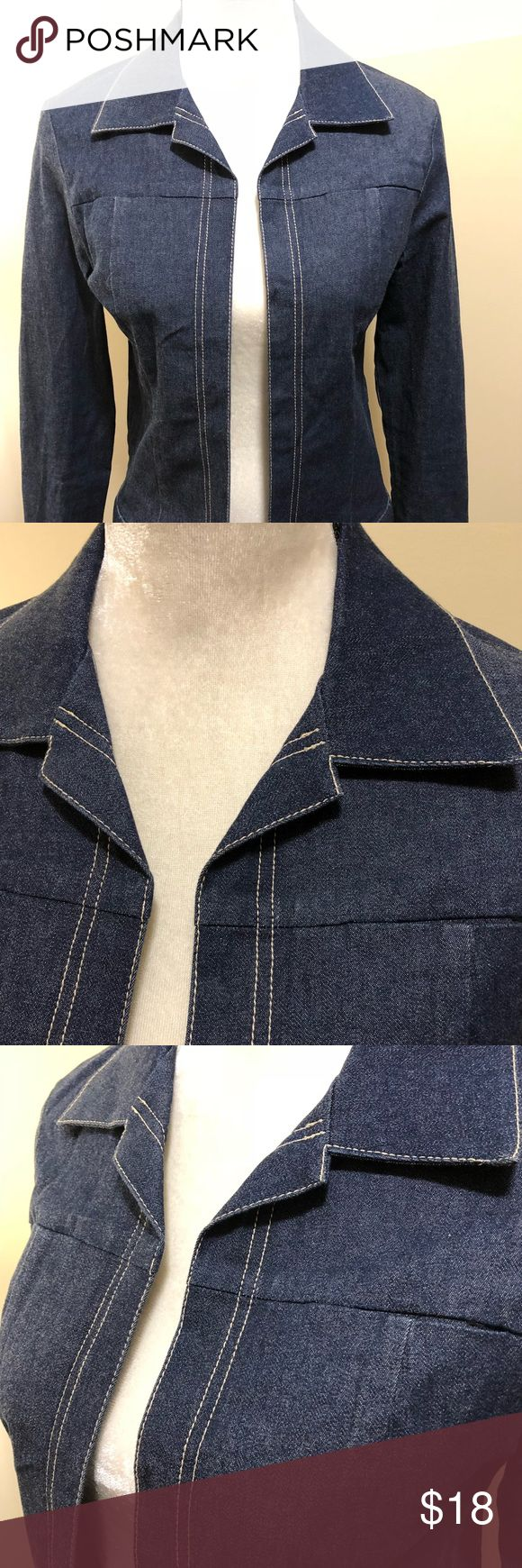 "French Connection Open Front Denim Jacket SZ SM Pre owed. No flaws Shoulder 15.5 Sleeve 25"" Back Length 21.5"" French Connection Jackets & Coats Jean Jackets"