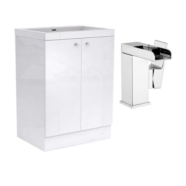 Darcey Gloss White Vanity Unit (850x600) and Detta Waterfall Basin Mixer Package additional image 1